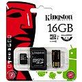 Kingston Micro SDHC 16GB Class 10 + SD adaptér a USB čtečka