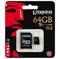 Kingston Micro SDXC 64GB Class 10 UHS-I + SD adaptér