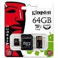 Kingston Micro SDXC 64GB Class 10 UHS-I+ SD adaptér a USB čtečka