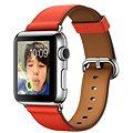 Apple Watch 38mm Nerez ocel s červeným koženým řemínkem s klasickou přezkou