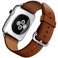 Apple Watch 42mm Nerez ocel se sedlově hnědým řemínkem s klasickou přezkou