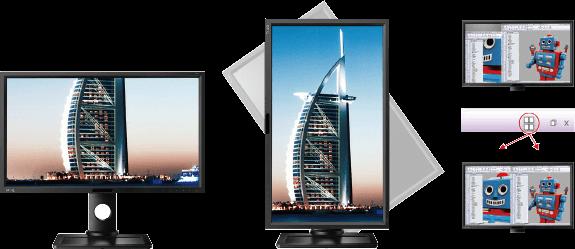 Software Display Pilot s dynamickým otočením obrazovky a funkcí Desktop Partition