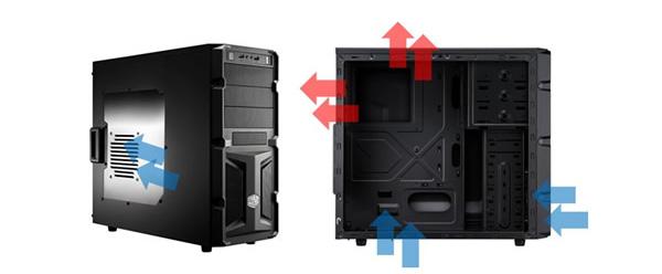 Proudění vzduchu podporuje dodávaný přední ventilátor