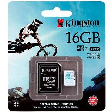 Kingston Micro SDHC 16GB Class 10 UHS-I U3 Action Camera + SD adaptér