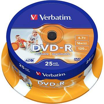Verbatim DVD-R 16x, Printable 25ks cakebox