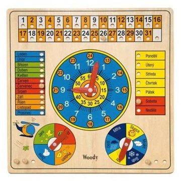 Woody Kalendář s hodinami a barometrem