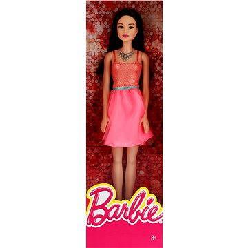 Mattel Barbie Brunetka v broskových šatech