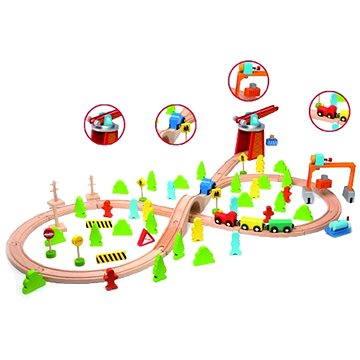 Dřevěný vlak s dráhou a doplňky