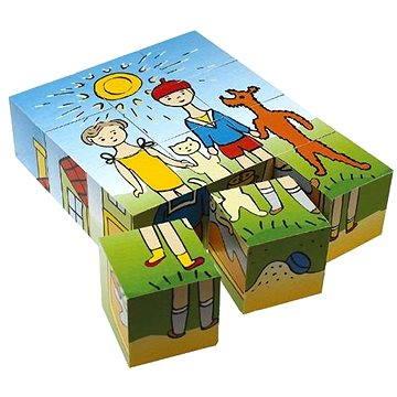 Topa dřevěné kostky kubus - Pejsek a kočička 12 ks
