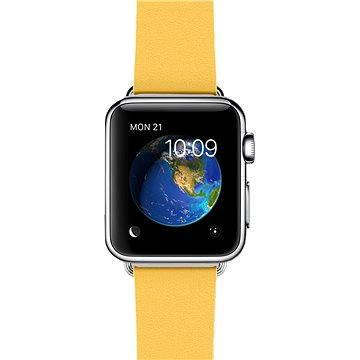 Apple Watch 38mm Nerez ocel s měsíčkově žlutým řemínkem s moderní přezkou - velikost M