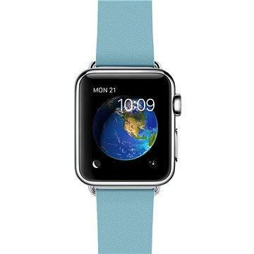 Apple Watch 38mm Nerez ocel s ledňáčkově modrým řemínkem s moderní přezkou - velikost M