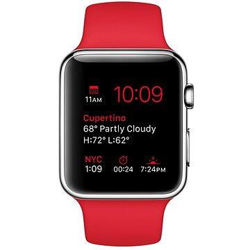 Apple Watch 42mm Nerez ocel s červeným řemínkem