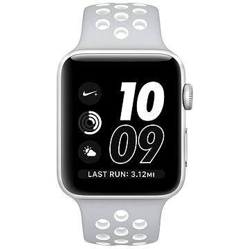 Apple Watch Nike+ 42mm Stříbrný hliník s matně stříbrným / bílým sportovním řemínkem Nike