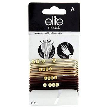 ELITE MODELS Gumičkové náramky 2v1 Hnědé odstíny - zlaté kuličky 16 ks