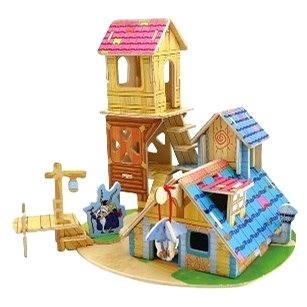 Dřevěné 3D Puzzle - Domeček s věží