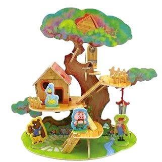 Dřevěné 3D Puzzle - Domeček na stromě se zvířátky