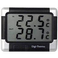Carpoint Teploměr digitalní In-Out  s hodinami černá/střbrná