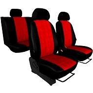 SIXTOL Autopotahy EMBOSSY kožené, pruhovaný plastický vzor, červené