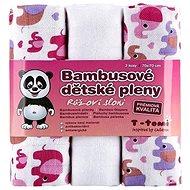 T-tomi Pleny bambusové 3 ks - růžoví sloni + DÁREK