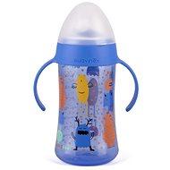 Suavinex Druhá lahvička s oušky Booo s nerozlitnou savičkou 270 ml - modrá
