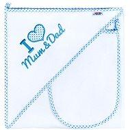 New Baby Luxusní dětská osuška I Love Mum and Dad 90 × 90 cm bílo-modrá