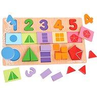Bigjigs Velká deska s vkládáním - Čísla, barvy, tvary