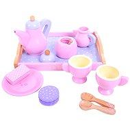 Dřevěný čajový růžový set