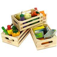 Set dřevěných zdravých potravin v krabičkách