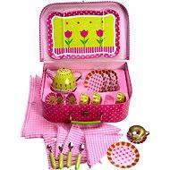 Růžový kytičkový čajový set v kufříku