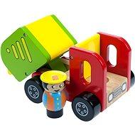 Dřevěné autíčko - Barevné nákladní auto s řidičem