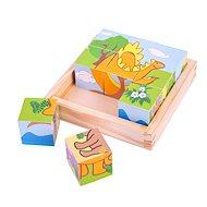 Bigjigs Dřevěné kostky kubus- Dinosauři