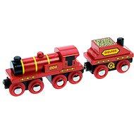 Bigjigs Červená lokomotiva s tendrem