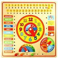 Dřevěný kalendář s hodinami
