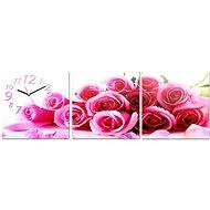 Nástěnné hodiny - plátno růže