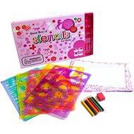 Kreslicí šablony s pastelkami - Velký box pro holčičky