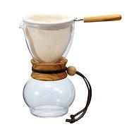 Hario Dripper Woodneck kombinace karafy, balněného filtru a skleněné karafy s hrdlem z olivového dře