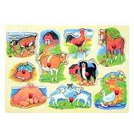 Woody Puzzle na desce - Farma s mláďaty