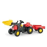 Šlapací traktor Rolly Kid s přívěsem a nakladačem-červený