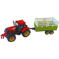 Traktor s valníkem červený