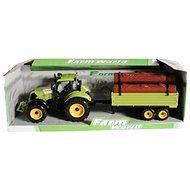 Traktor s valníkem se dřevem zelený