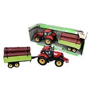 Traktor s valníkem se dřevem červený