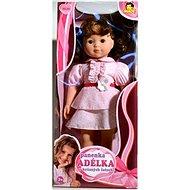 Panenka Adélka brunetka v krásných růžových šatech