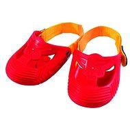 Červené ochranné návleky na botičky pro jízdu na odrážedle