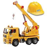 Bruder Nákladní auto s hydraulickým jeřábem + pracovní přilba