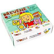 Topa dřevěné kostky kubus - Pro nejmenší děti 4 ks