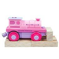 Bigjigs Elektrická lokomotiva - Mašinka růžová