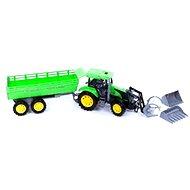 Traktor zelený s přívěsem a radlicí