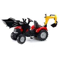 Traktor červený Case IH Puma s přední i zadní lžící