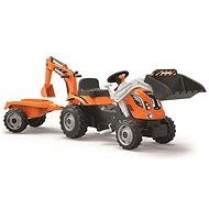 Šlapací traktor Rolly Kid s vlečkou - oranžový