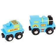 Bigjigs Modrá mašinka s tendrem + 2 koleje